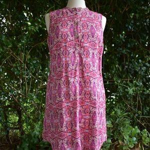 Cynthia Rowley linen pink shift dress with tie